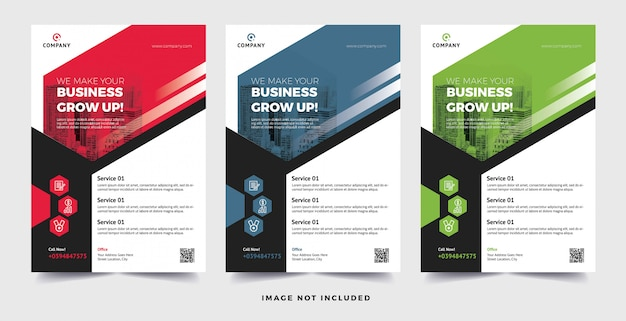 Corporate business flyer 3 color variation