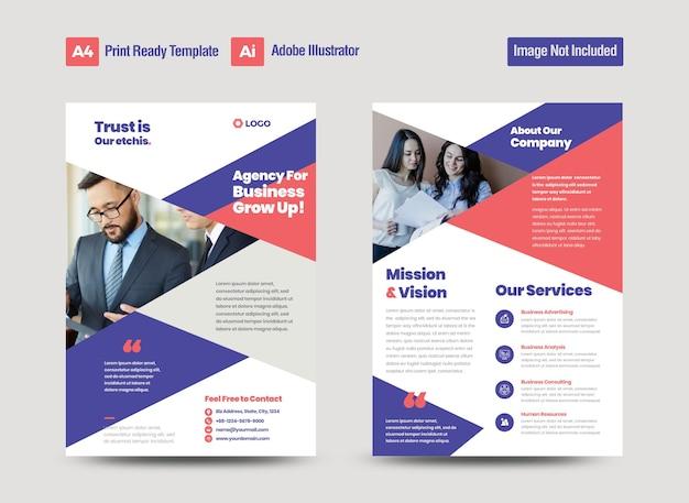 Corporate business flyer design or handout and leaflet design or marketing sheet brochure design