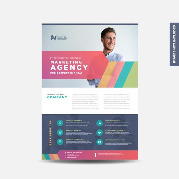 企業のビジネスチラシのデザインまたは配布物とリーフレットのデザインまたはマーケティングシートのパンフレットのデザイン