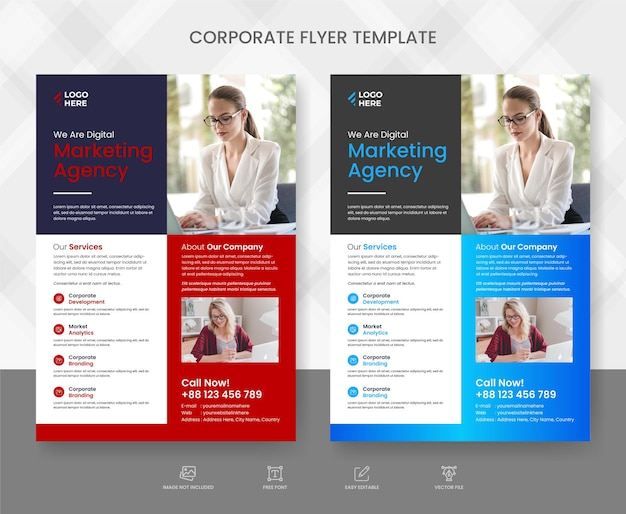 Corporate business flyer template design set and flyer poster and leaflets layout