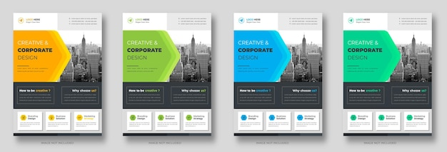 Corporate business flyer template design set with blue green and yellow color