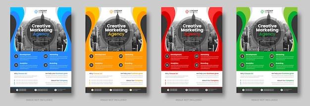 青、黄、赤、緑の色で設定された企業のビジネスチラシテンプレートデザイン