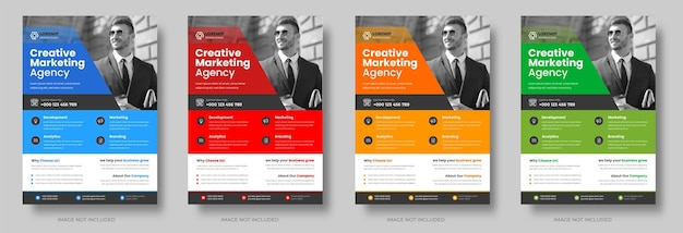 Corporate business flyer template design set with blue yellow red and green color