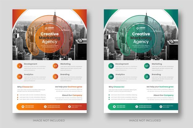 オレンジと緑の色で設定された企業のビジネスチラシテンプレートデザイン
