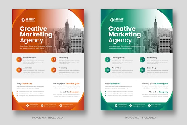 Corporate business flyer template design set with orange and green color