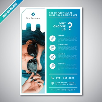 Corporate business flyer template simple blue