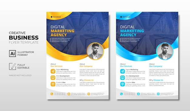 Corporate business flyer template with blue and orange
