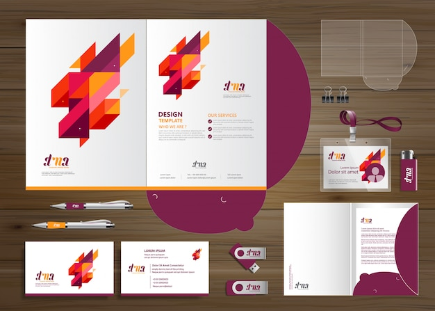 Corporate business folder technology stationery company, presentation