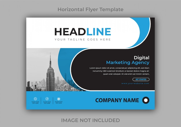 Corporate or business horizontal flyer design template