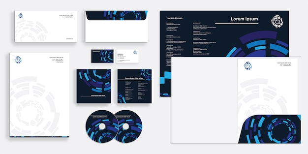 Corporate business identity stationary abstract circle round blue