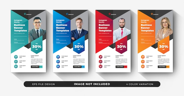 Corporate business instagram stories set with color variation