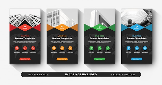 Corporate business instagram story templates with color variation Premium Vector