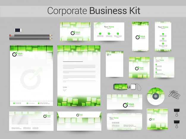 Corporate business kit in green and white colors.