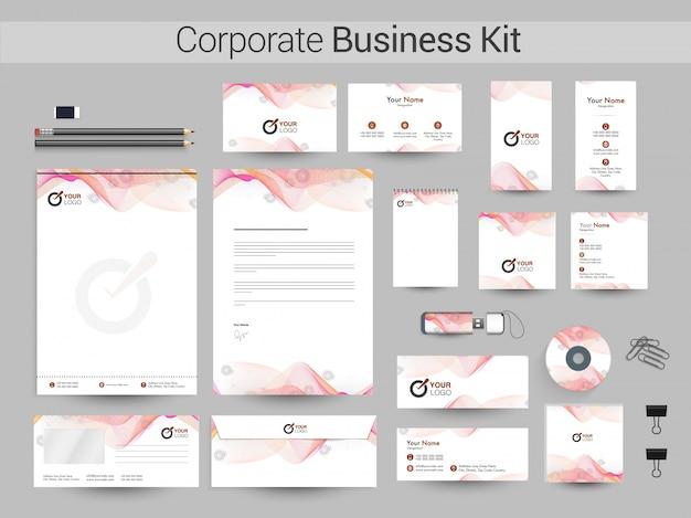 抽象的な波を持つ企業ビジネスキット。
