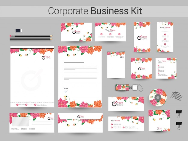 Corporate business kit with beautiful flowers. Premium Vector