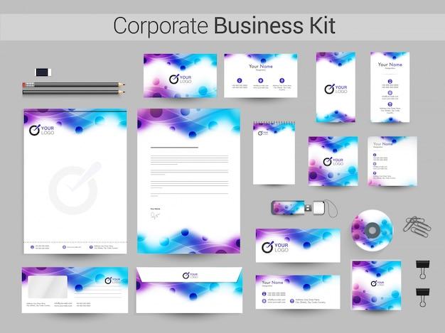 青と紫の波を持つ企業向けビジネスキット。