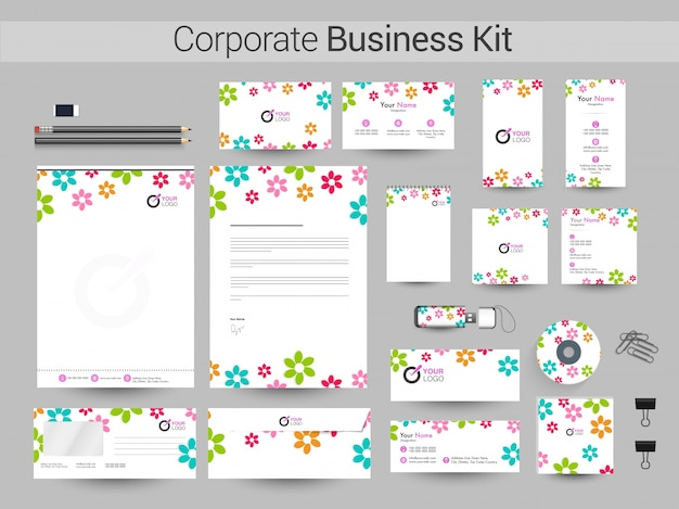 Corporate business kit with colorful flowers.