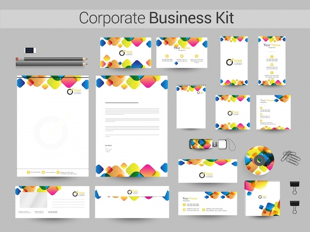 Corporate business kit with colorful squares.