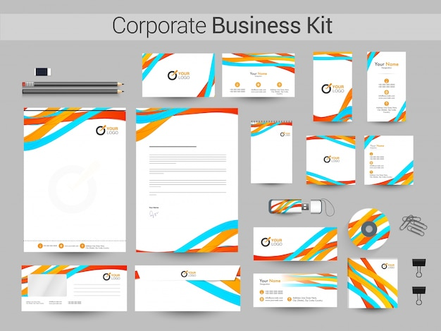 カラフルな波と企業のビジネスキット。