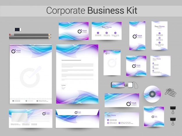Corporate business kit with flowing waves.