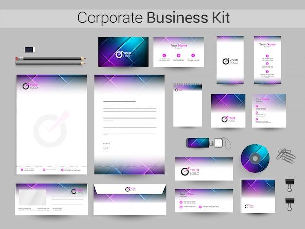 光沢のある抽象的なデザインの企業向けビジネスキット。