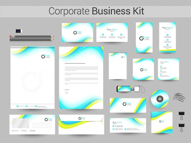 Corporate business kit with green and sky blue waves.