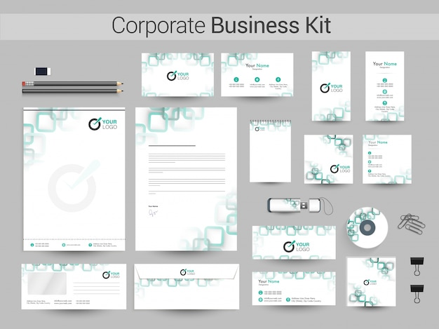 企業のビジネスキット(緑色の四角形)。