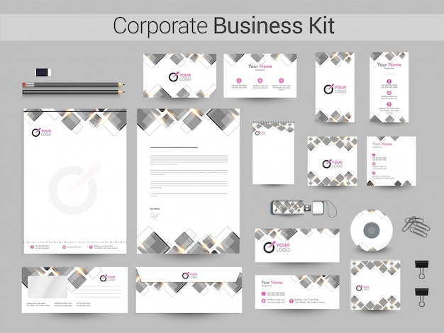 Corporate business kit with grey squares.