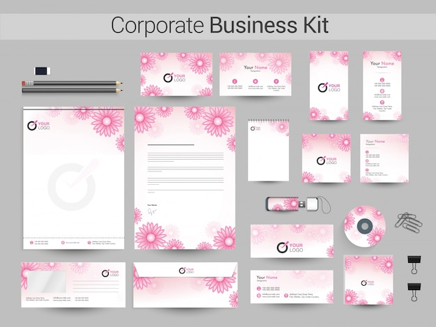 Corporate business kit with pink flowers.