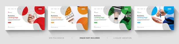 Corporate business landing page template with color variation set