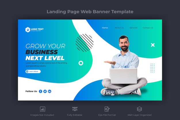 Corporate business landing web page banner template