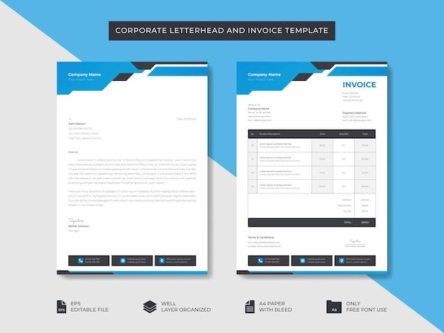 Корпоративный бизнес-бланк и шаблон счета-фактуры шаблон дизайна фирменного стиля бизнеса