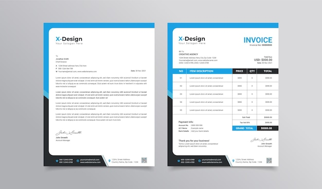 Corporate business letterhead and invoice template business branding identity design template