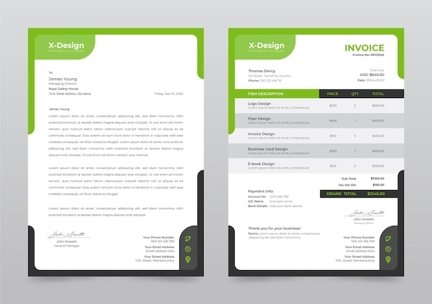 Corporate business letterhead and invoice template