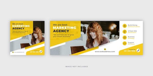 Сообщение в социальных сетях маркетингового агентства корпоративного бизнеса с шаблоном обложки facebook