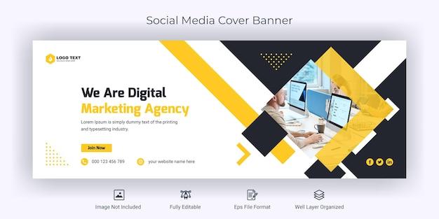 Шаблон обложки баннера для корпоративного бизнеса в социальных сетях