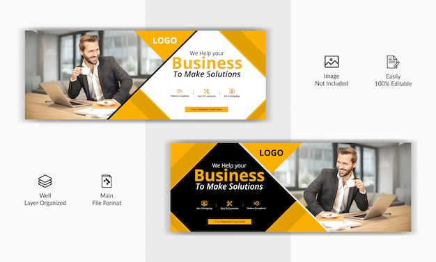 Corporate business marketing social media post facebook cover page timeline web ad banner template