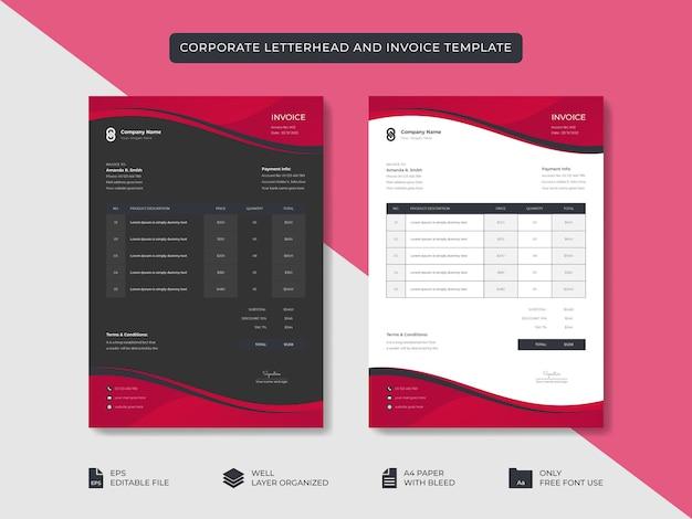 Корпоративный бизнес минимальный стильный бланк и шаблон счета-фактуры дизайн фирменного стиля бизнеса