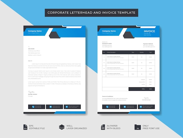 Corporate business minimal stylish letterhead and invoice template business branding identity design