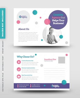 기업 비즈니스 엽서 디자인 또는 날짜 저장 초대 카드 또는 다이렉트 메일 eddm 디자인