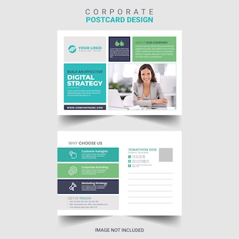 Corporate business postcard design template free vector