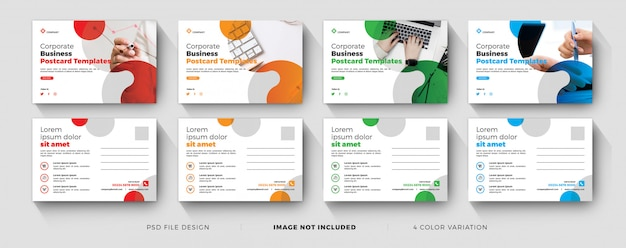 Corporate business postcard templates with color variation set