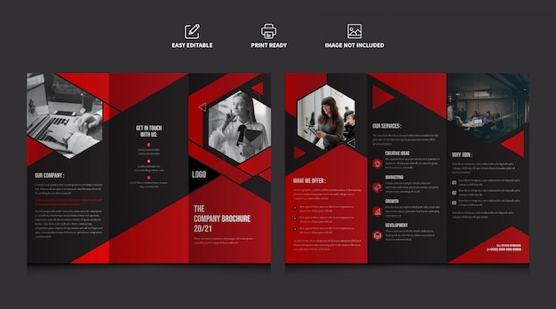 Корпоративный бизнес красный цвет trifold шаблон брошюры