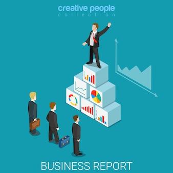 Corporate business report flat isometric Premium Vector