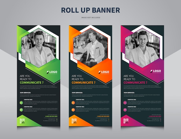 Corporate business roll up banner, stand banner template premium vector