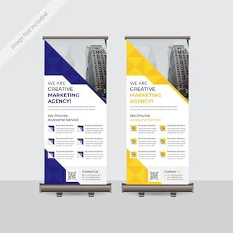 企業のビジネスロールアップまたはスタンディーバナーテンプレートデザイン