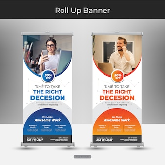 Corporate business roll up or stand banner template with abstract design