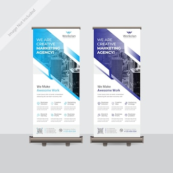 Corporate business roll up or standee banner template design