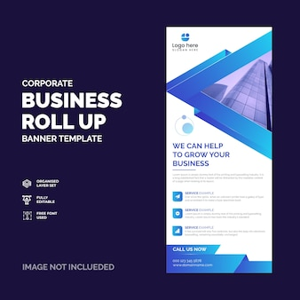 Corporate business rollup banner or xbanner design template vector