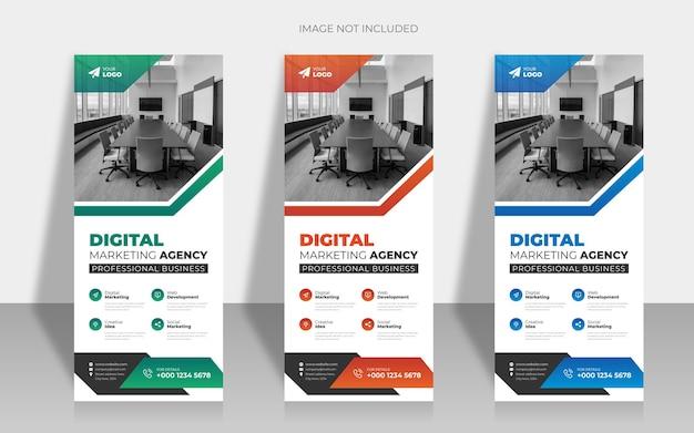 企業のビジネスロールアップまたはプルアップバナーデザインテンプレート
